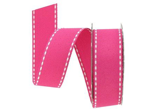 100% Polyester Made stitched grosgrain ribbon.