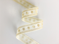 Organza Ribbon Screen Foil Print ( Gold/Silver )