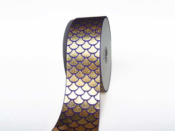 Puff & Foil Fish Scales Printed Grosgrain Ribbon